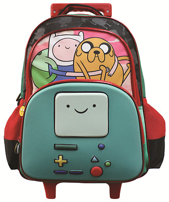 Adventure Time Cartoon Beemo Backpack With Wheels School Travel Pilot Suitcase
