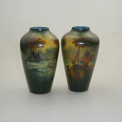 A Pair Of Pokerwork Vases  Decorated With Sailing Ships