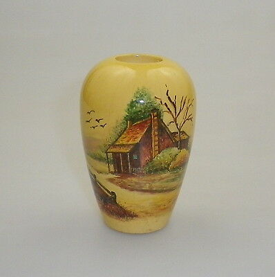 Pokerwork Vase  Decorated With Country Side Cottage Scene