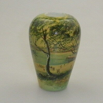Pokerwork Vase  Decorated With Coastal Scene.