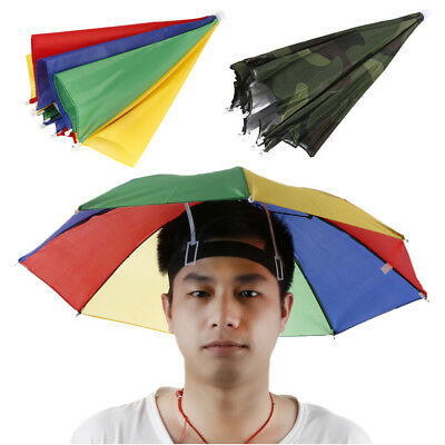 Foldable Head Umbrella Hat Cap Golf Outdoor Sun Headwear Fishing Camping KW10