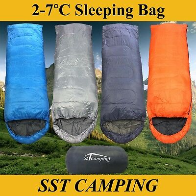2-7°C Single Hooded Envelope Sleeping Bag Hiking Mat Tent Camping Light 210x75cm