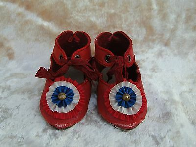 """Leather red shoes Jumeau style for antique French of German doll 3"""""""