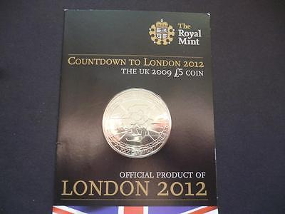 2009 London Olympics 2012 Countdown Uncirculated £5 Coin In Royal Mint Pack.