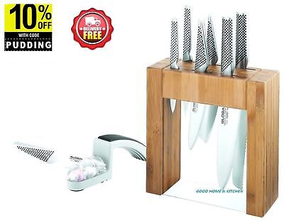 New Global  Ikasu 7Pc Knife Block Set  Plus+ Water Sharpener