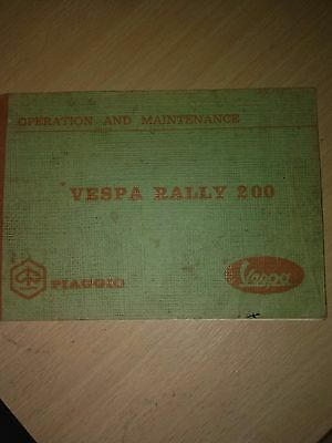 Vespa Rally 200 Operation And Maintenance Manual