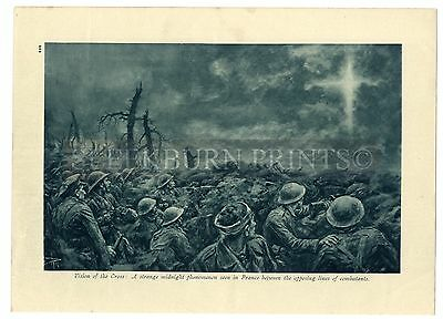 1916 WW1 Print BAPAUME ADVANCE Trenches DUG-OUT Vision of the Cross BATTLEFIELD