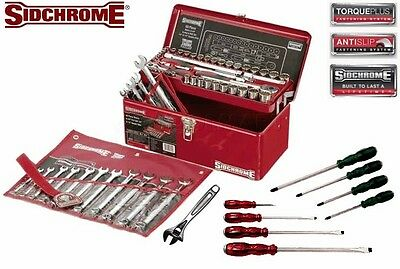 Sidchrome 78 Piece Metric/AF Tool Kit - Inc. Sockets, Spanners + More #SCMT45355