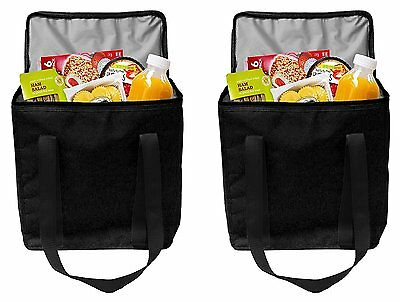 New 2 Reusable Insulated Grocery Bags Heavy Duty Nylon Thermal Cooler Tote