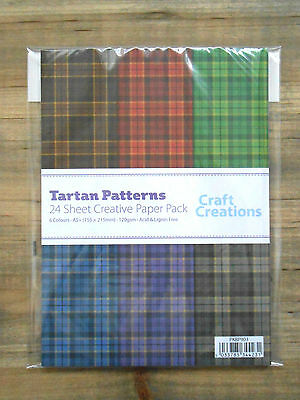 Pack of 24 Sheets Assorted TARTAN Check 120gsm Patterned A5+ Craft Paper