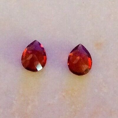 2 PC PEAR CUT SHAPE NATURAL GARNET 4MM x 3MM LOOSE GEMSTONE