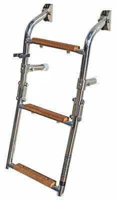 Stainless steel Boat swim ladder 3, 4 or 5 Iroko Teak Wood Levels, folding