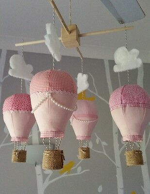 Baby mobile for childs nursery - Hot Air Balloons in Baby Pinks