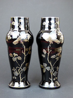 Haida 2 black glass vases birds & foliage Bohemian Art Nouveau Goldberg Rachmann