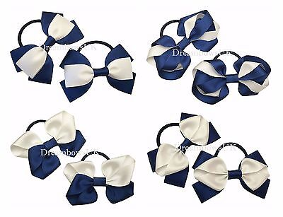 Navy blue and white school bows, Bobbles or hair slides, school hair accessories