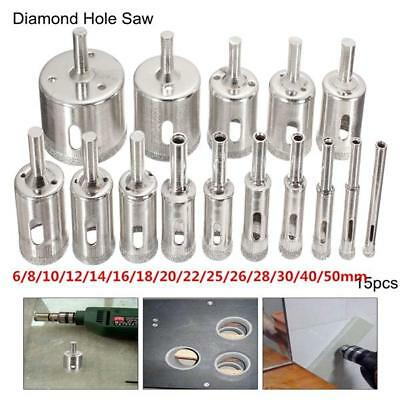 Frese a tazza diamantate 15pcs 6-50mm Hole Saw Drill Bit Set Tile Ceramic Glass