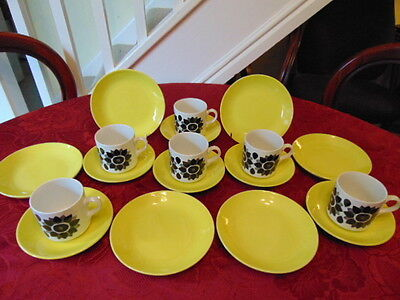 Staffordshire Retro Floral Pattern Tea Set (18 Pieces) In Good Condition