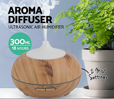 300 Aroma LED Essential Oil Diffuser Wood Ultrasonic Air Humidifier Purifier