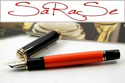 Pelikan Souverän Burnt Orange Edelharz Schwarz Orange Special Edition Gold -B-