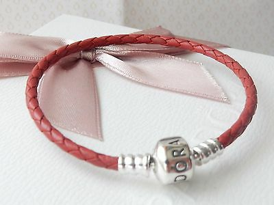Authentic Pandora St.silver Woven Red Braided Leather Bracelet - 590705Crd-S1