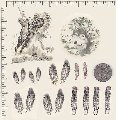 Waterslide ceramic decals Decoupage Native American Indians, Wolf, Feathers PD6