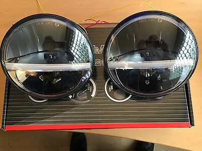 """Land Rover Defender LED Headlight 7"""" DRL Headlamp x 2 Lamps Lights E Approved"""