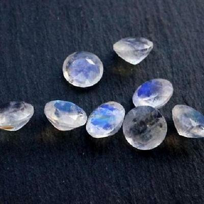 5 PCS LOT WHITE RAINBOW MOONSTONE 8x8 MM ROUND CUT FACETED LOOSE GEMSTONE