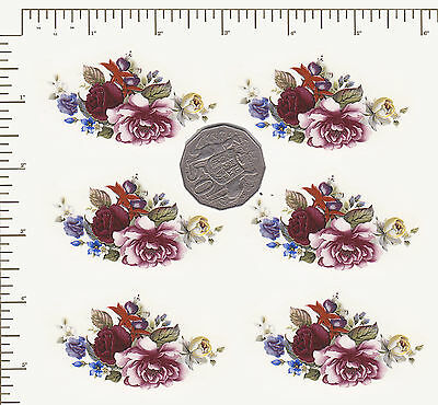 "6  x Waterslide ceramic decals Purple Flowers Roses Floral 1 3/8"" x 2 1/2"" PD5"