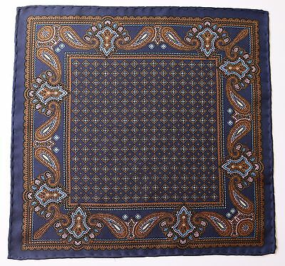 Blue Paisley hand printed Silk pocket square. Hand rolled New with defect