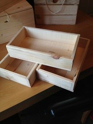 3 X Wood Hamper Crate, Gift Box, Storage Box, Hamper Tray, Small Rectangular