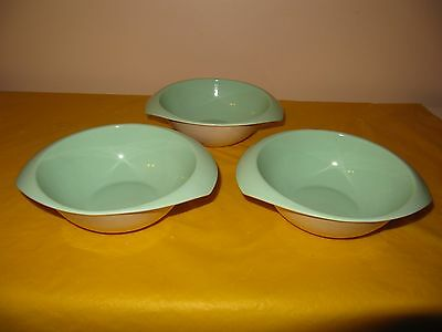 """3 BRANKSOME Cream&Green BOWLS with TWO HANDLES dia 6"""" , hardly used in VGC"""