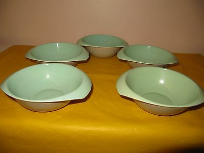 """5 BRANKSOME Grey&Green BOWLS with TWO HANDLES dia 6"""" ,firing flaw&cutlery marks"""