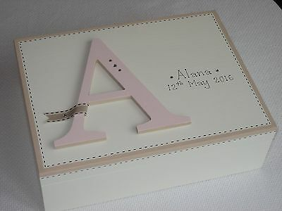 Personalised Hand-Painted Large Wood Keepsake Box New Baby Girl/Christening Gift
