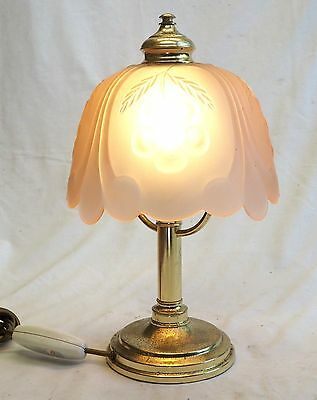 Vintage Table Lamp Light Translucent Pink Glass Shade Brass Base