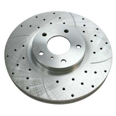 Performance Drilled and Slotted Silver Rotor Left Side Fits INFINITI NISSAN