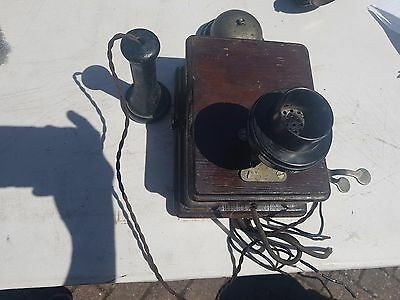 Vintage  drop Stick Phone Telephony with  Box and a bell