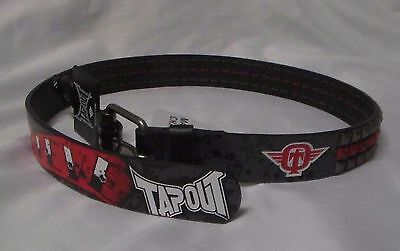 RARE NWT Boys TAP OUT Belt Small 10 / 12 Genuine Leather Red Black New M Medium