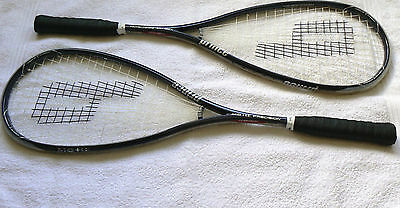 Prince TT (Triple Threat) squash rackets x2, new with slight defect and covers