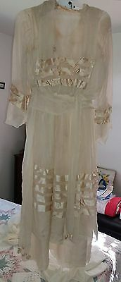Vtg Edwardian wedding silk gown french seams antique 2pc undergarment