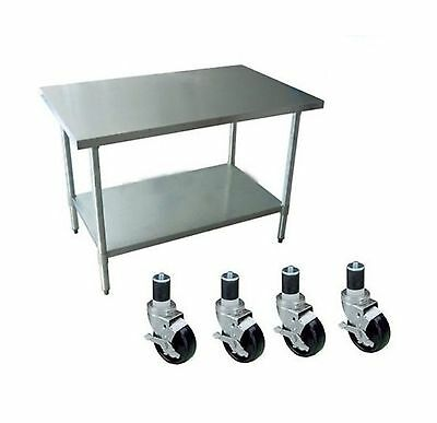 """Apex Worktable Stainless Steel Food Prep 30"""" x 18"""" x 34"""" Height With 4 Caster..."""