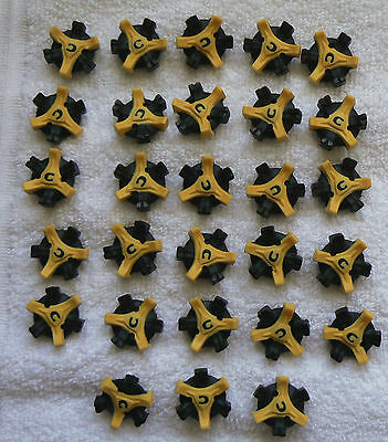 Champ Scorpion Q-Lok golf spikes packet of 28 studs, yellow black colour, new.