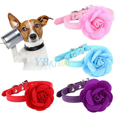 Hot Dog Pet Flower PU Leather Collar Puppy Cat Buckle Strap Neck Adjustable New