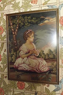 "Vintage wool work framed tapestry victorian girl approx ""20 1/2 x ""15"
