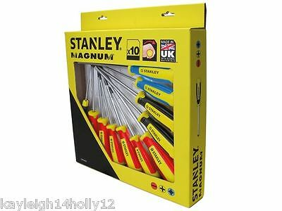 Genuine Stanley~62201~Magnum 10 Piece Screwdriver Set~Ph~Pz~Slotted~Flat Head