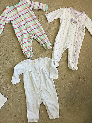 Lot Of 3 Baby Girl Pajamas Size 3-6 Months And 6 Months.