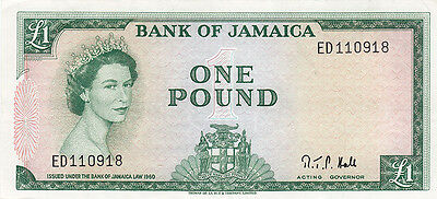 1961 Bank of Jamaica 1 Pound Bank Note – V F +