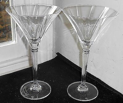 Two Ralph Lauren Crystal Garland Martini Cocktail Glasses