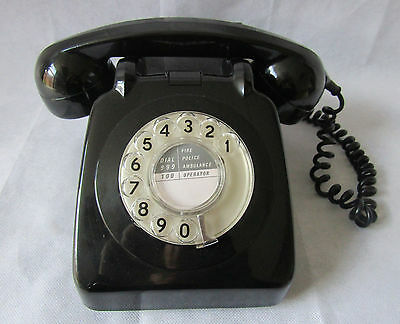 Vintage Retro 1960s Black GPO 706 Dial Phone Telephone Converted Working