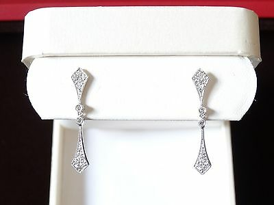 Gorgeous Diamond Dangle Earrings 0.14ct SI/G Solid 14k White Gold