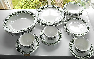 Adams Lincoln Green Twenty Two Piece Plate Bowl Cup Saucer Set